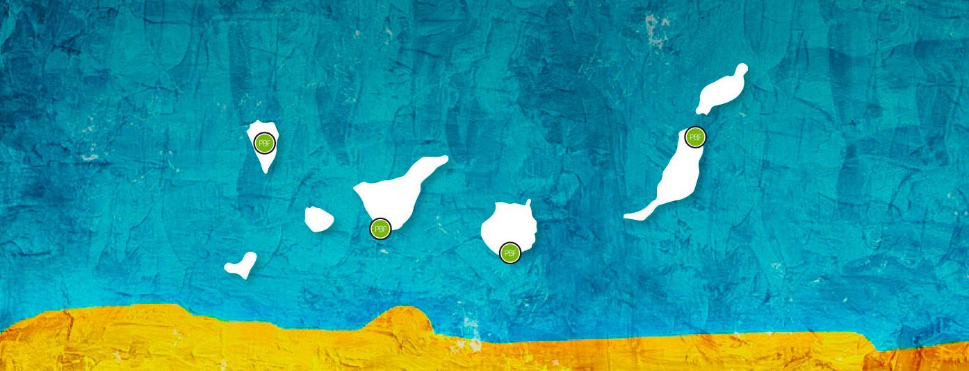 Mapa con oficinas de seguros PBF en las  Islas Canarias | PBF Seguros